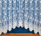 WHITE BUTTERFLIES FLORAL JARDINIÈRE NET LACE CURTAIN SLOT TOP READY MADE SCALLOP