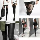 New 2 Style Lady's Faux Leather Black Gothic Punk Leggings Pants Lace Trousers