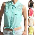 MOGAN Crochet Back TIE FRONT SLEEVELESS SHIRTS Button Down Cropped Blouse