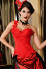 Sexy Women's Red Rose Floral Overbust Corset Basque Lingerie Burlesque 5220-3