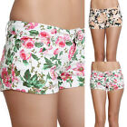 TheMogan Floral PRINTED DENIM SHORTS Cute Blooming Flower Jean Mini Short Pants