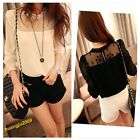 New Casual Womens Long Sleeve Lace Chiffon Stand Collar Shirt Blouse 2 Colors