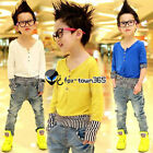 Autumn Baby Toddlers Kids Boys Vertical Stripes Long Sleeve V T-Shirt Top 2-7Y