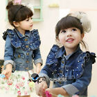 Autumn Kids Toddlers Girl Princess Flounced Style Pearl Jeans Coat Jackets 2-8Y