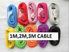 COLOUR  LONG USB DATA SYNC CHARGER CABLE LEAD FOR iPhone 4 4S 3G 3GS iPod iPad