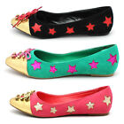 FDW Womens Fashion Gold Lace Up Stars Metal Pointy Toe Ballet Party Flats Shoes