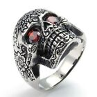 316L Stainless Steel Titanium Gothic Carved Skull Ruby Rock N' Roll Ring M073762