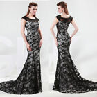 Long Mermaid Lace Ball Gown Evening Prom Bridesmaid Party Dress 8Sz Free Postage