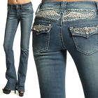 MOGAN Dazzling Crystal Yoke Flap Pocket BOOTCUT JEANS Embellished Flare Denim