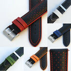 Mens Genuine Leather Watch Strap/Band - Buckle and Spring Bars - Colour Contrast