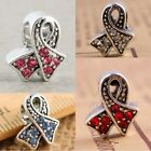Ribbons Awareness Crystal Rhinestone Beads Fit Charms Bracelet Pink Red White...