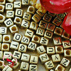 Gold Square Alphabet Letter Acrylic Plastic 6mm Beads A-Z G43C9308