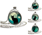 BLACK CAT AND FULL MOON Silhouette Teal 1