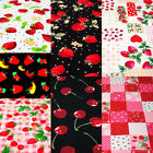 [FQ] Pink/Red/Black/White Strawberry Cherry Chilli Cute Style 100% Cotton Fabric