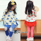 Child Kids Toddlers Baby Girl Princess Apple Shirt+Lace Leggings Pants Sets 2-7Y