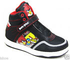 BOYS ANGRY BIRDS BLACK LEATHER LOOK CASUAL OUTDOOR HI TOP TRAINERS SIZE 11-1 NEW