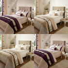 Catherine Lansfield Home Rich Floral Embroidered Faux Silk Duvet Cover Set
