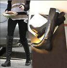 Women genuine leather/ Suede Over Knee Stretch Back Shaft Riding Boots