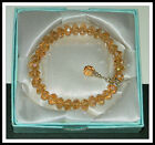6 x 8mm CHAMPAGNE CRYSTAL GLASS BEADED STRETCH BRACELET ~ SILVER ~ GOLD ~ SPACER