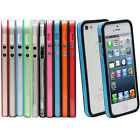 Color Clear TPU Silicone Bumper Frame Case w/ Metal Buttons for iPhone 5 5G 5S