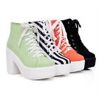 Womens Fashion Canvas Lace Up Block Chunky Heel Platform Punk Ankle Boots Shoes