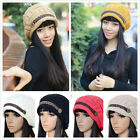 Women Warm Braided Rageared Baggy Winter Beanie Knit Crochet Ski  Hat Cap Warmer
