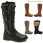 NEW WOMENS LADIES BIKER BUCKLE FAUX LEATHER FLAT KNEE HIGH WARM WINTER FUR BOOTS