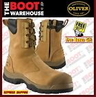 Oliver Work Boots 55285, Steel Toe Safety. High Leg, Zip Sided In 'Wheat'. NEW!