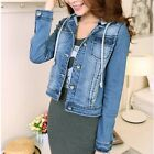 Hoodie Denim Jacket Long Sleeve Button Down Solid Short Coat  [JG]