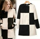 Hot Womens Black and White Grid Mix-color Mid-long Woolen Overcoat Jacket Coat