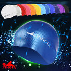 NWT YINGFA SILICON SINGLE COLOR PRINTING SWIMMING CAP BLACK,BLUE,WHITE,GRAY etc.