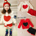Autumn Girls Child Baby Kids Heart Coat Shirt Top&Short Pants Leggings Sets 2-6Y