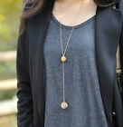 1pc Stylish Lady Gold Hollow Double Balls Pendant Adjustable Long Necklace
