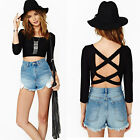Sexy Women Casual Scoop Neck Backless Blouse Tops Half Sleeve Crop Top T-Shirt