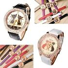 Girls Golden Case Crystal Couple Lover Cats Dial Quartz Wrist Watch Decor Gift