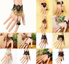 Fashion Black Women Bracelet Lolita Black Jewelry Lace Chain Ring Bracelet Set