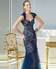 Navy Blue Lace Tulle Sweetheart Mermaid Pageant Ball Gown Full Length Prom Dress