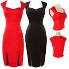 Lady Vintage NEW 50s Retro Pencil Black Red Wiggle Office Work Dress Size 6-20