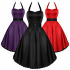 H & R Sexy Satin Halter Dress Vintage 1950's Style Rockabilly Party PInup  0211