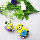 1 x Retractable V8 Yellow Doll Flat DATA Sync USB Cable for Samsung HTC LG Sony