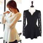 Womens Lace Long Sleeve V-Neck Chiffon T-shirt Peplum Frill Tops Blouse S -2XL