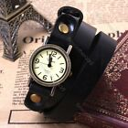 Steampunk Weave WRAP Retro Black Leather Long Band Quartz Men women Wrist Watch