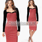 Womens Bow Belted Vintage Pinup Polka Dot Bodycon Party Pencil Cocktail Dress