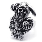 Men's 316L Stainless Steel Titanium Ghost With AK47 Rock N' Roll Ring M073405