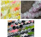 Fashion Yellow/Pink/Black Round Ball Crack Glass 10mm Spacer Beads Jewelry DIY
