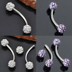 Punk Steel 18g Czech Crystal Curved Barbell Bar Disco Ball Eyebrow Ring Ear Stud