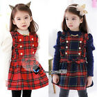 Spring Autumn Child Kids Toddlers Baby Girl School Shirt+Plaid Dress Sets 2-7Y