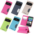 For HTC ONE M8 View Screen Faux Leather Flip Card Holder with Stand Case Cover