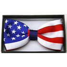 New US 4th Of July Patriotic USA Flag Colors Adjustable Bow Tie In Gift Box
