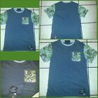 GREEN Gray Camouflage short sleeve crew neck T shirt Gray Pocket T shirt  M-2X